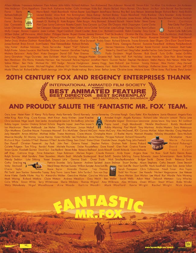 Fantastic Mr. Fox For Your Consideration