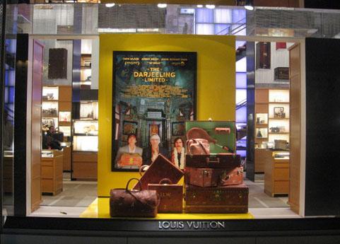 Darjeeling Limited luggage on display at LV, NYC